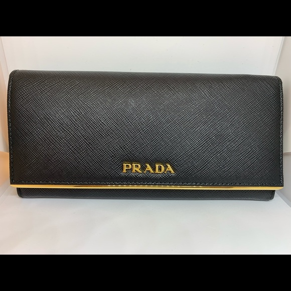 37ea111c871f Prada Saffiano Leather With Gold Bar Women Wallet